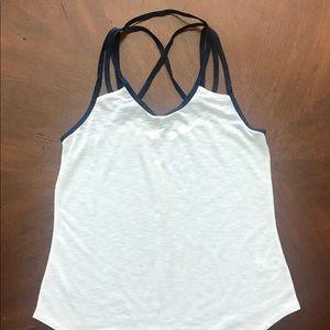 White tee with navy straps